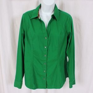 "Express ""The Essential Shirt"" Green Blouse"